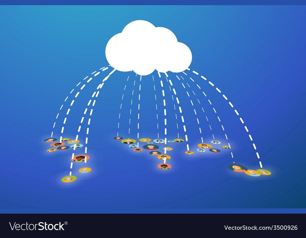 People connected in cloud flat vector | Price: 1 Credit (USD $1)