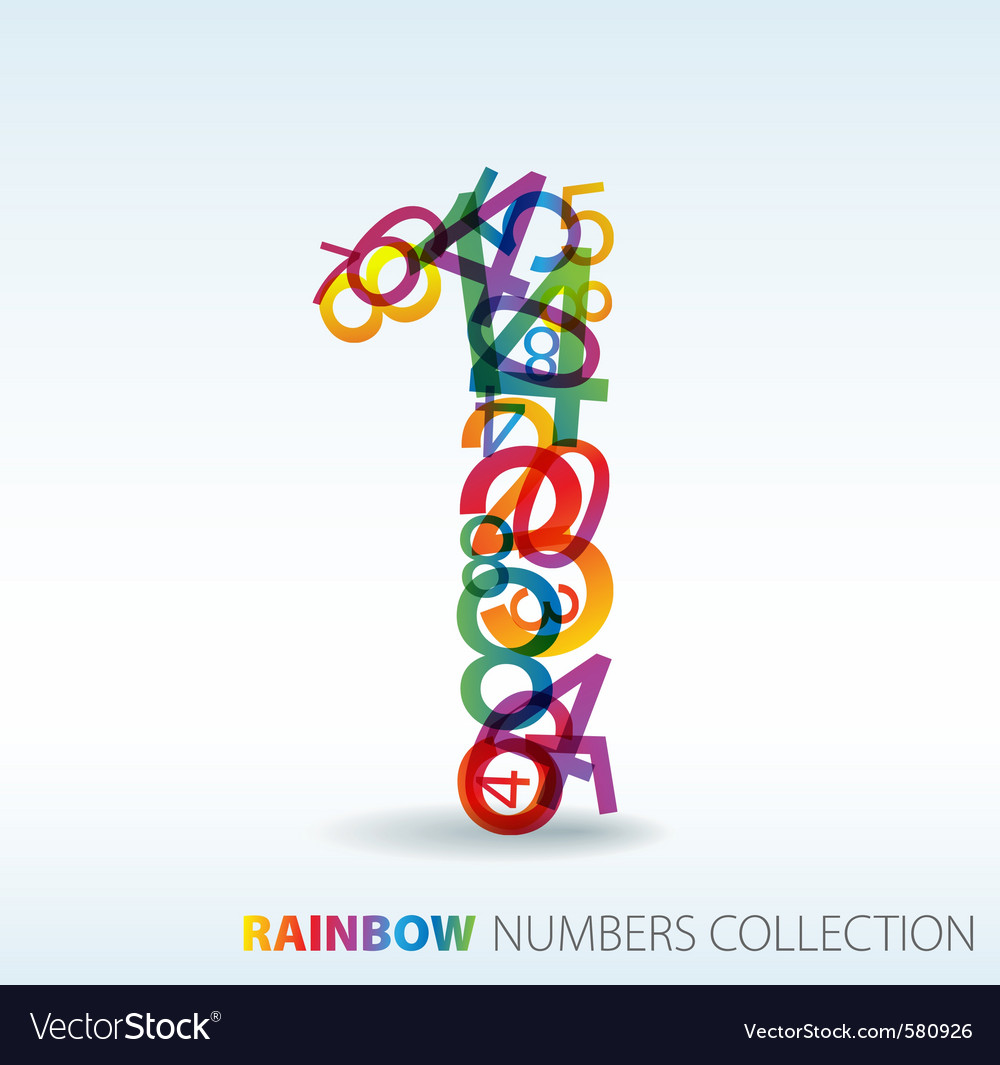 Rainbow number 1 vector | Price: 1 Credit (USD $1)