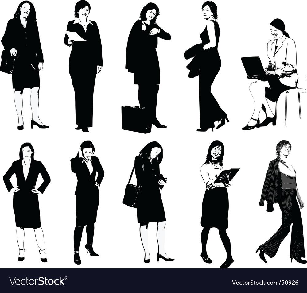 Set of 10 office women vector | Price: 1 Credit (USD $1)