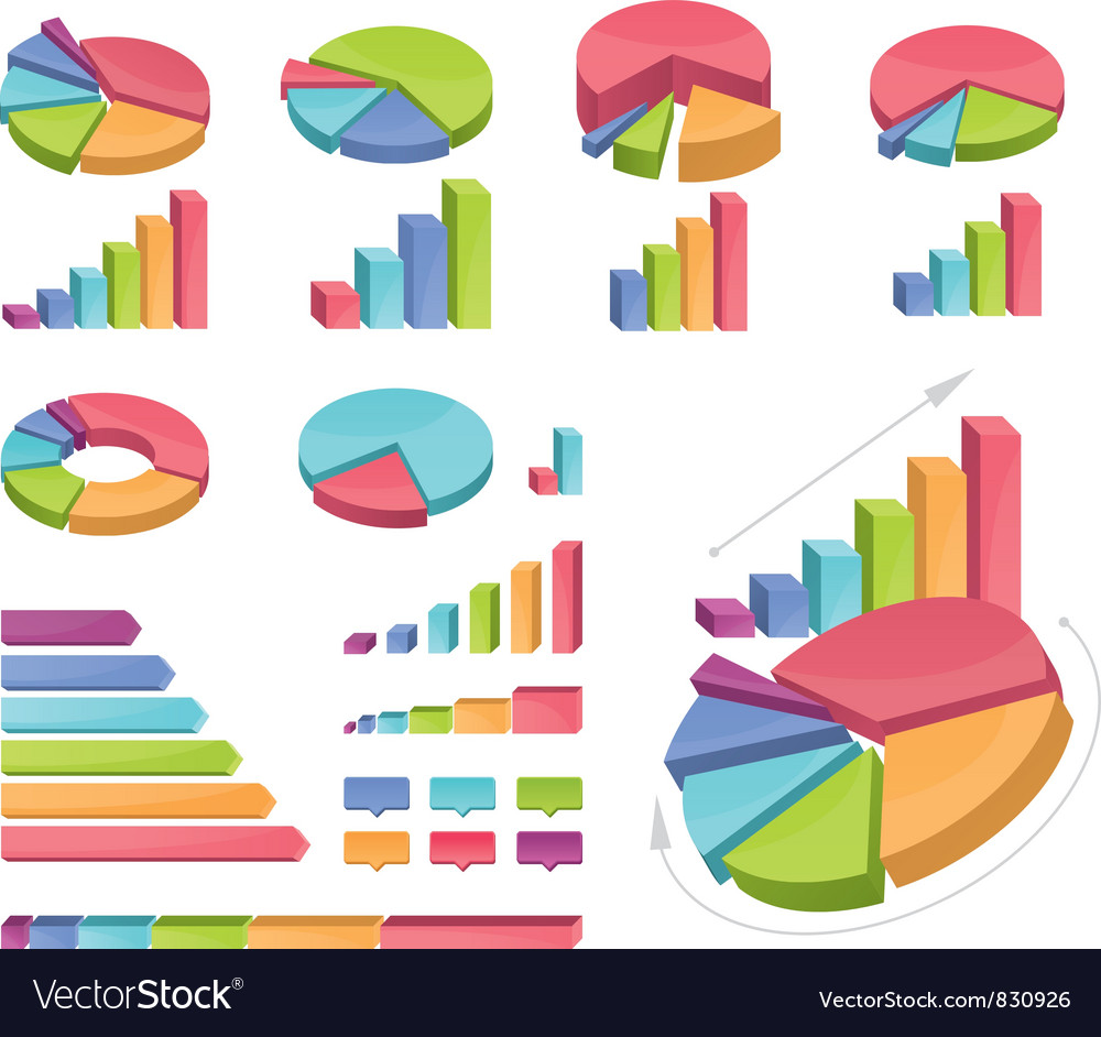 Set of coloured charts vector | Price: 1 Credit (USD $1)