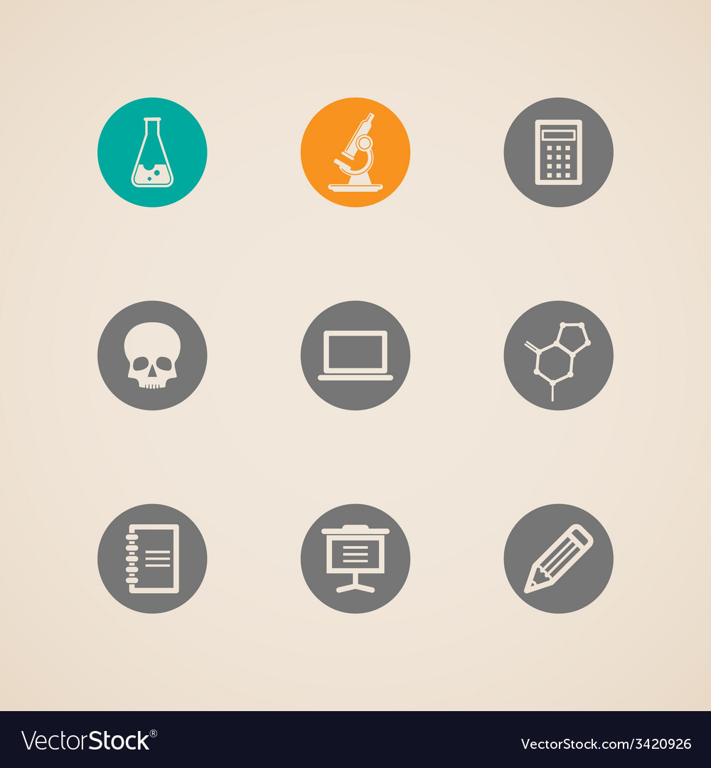 Set of education and science icons vector | Price: 1 Credit (USD $1)
