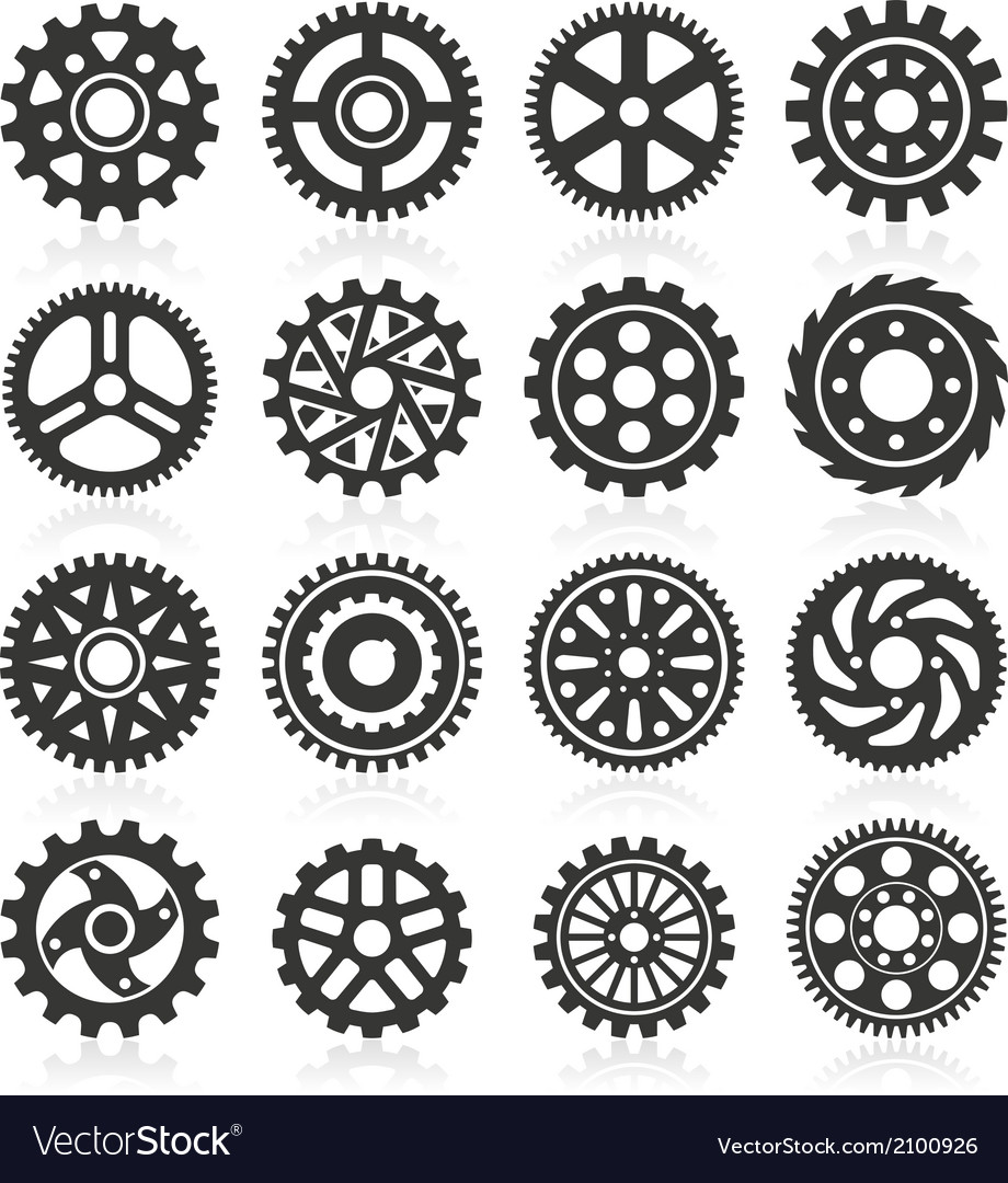 Set of gear icons on black background vector   Price: 1 Credit (USD $1)