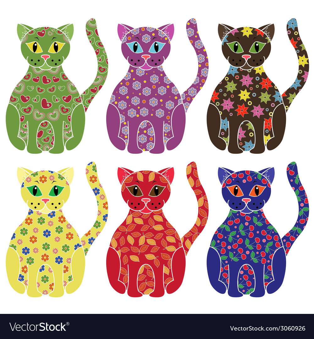 Set of six colorful funny cats over white vector | Price: 1 Credit (USD $1)
