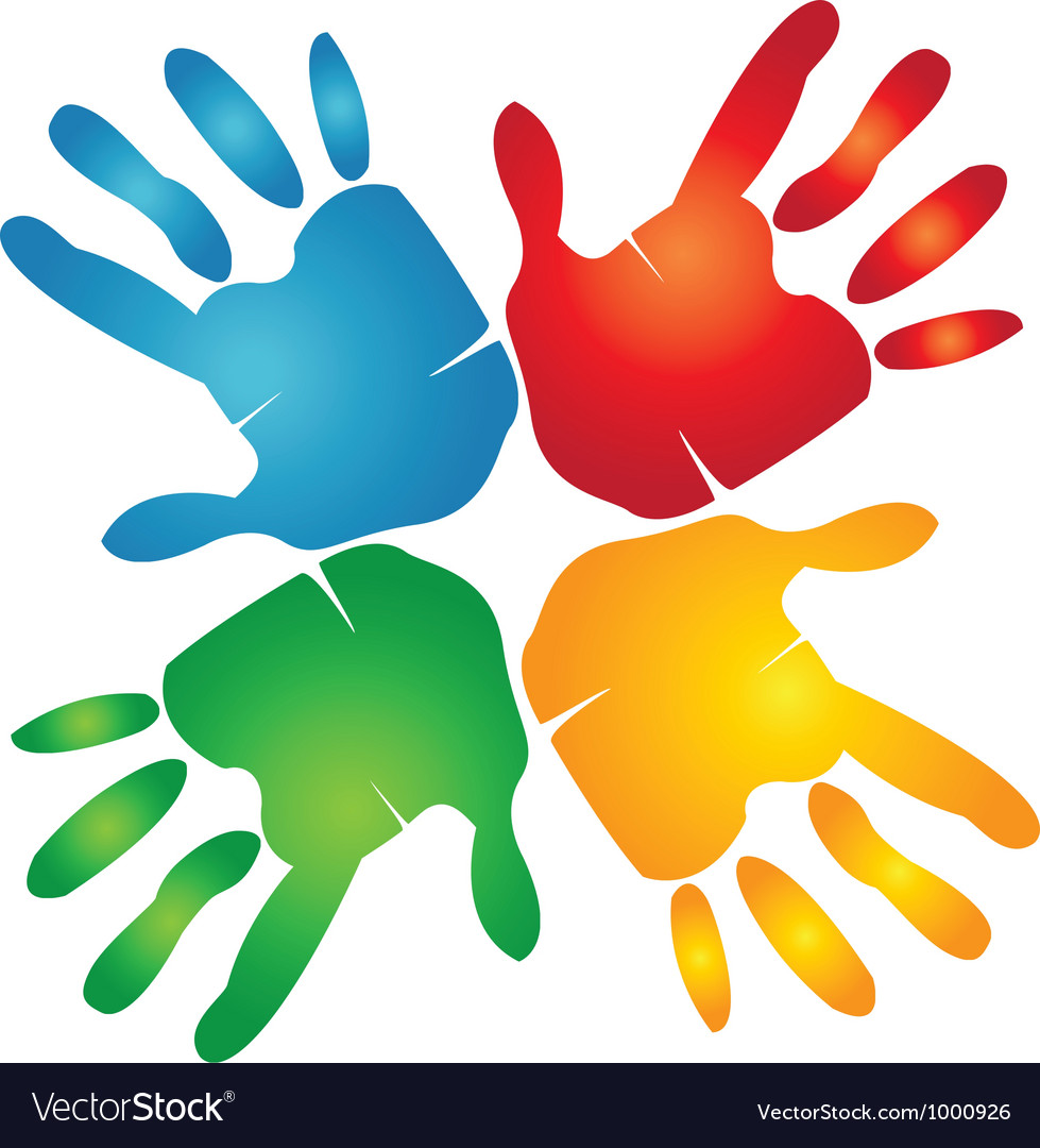 Teamwork hands colorful vector | Price: 1 Credit (USD $1)