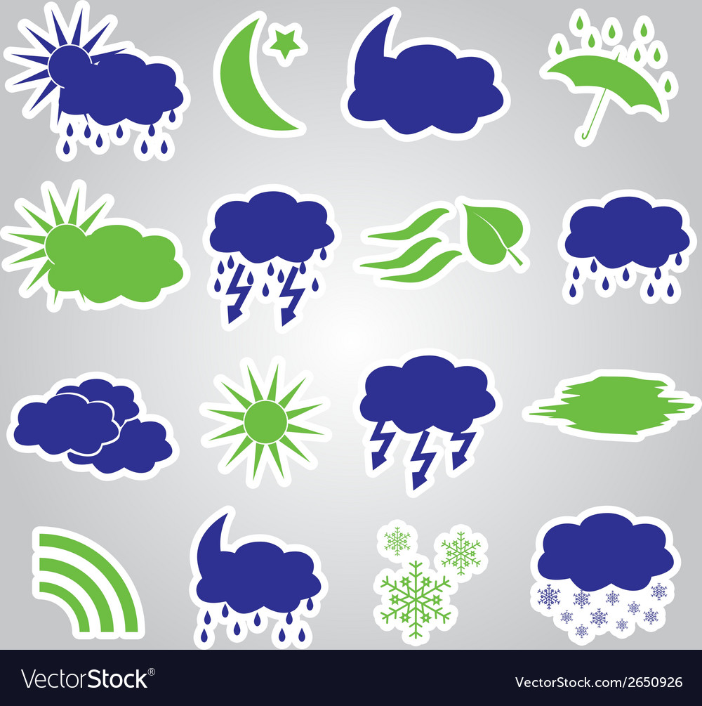 Weather stickers icons set eps10 vector | Price: 1 Credit (USD $1)
