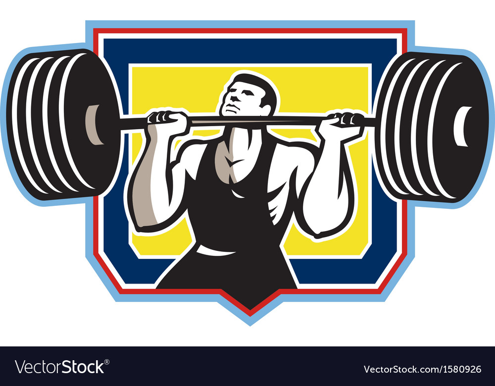 Weightlifter lifting heavy barbell retro vector | Price: 1 Credit (USD $1)