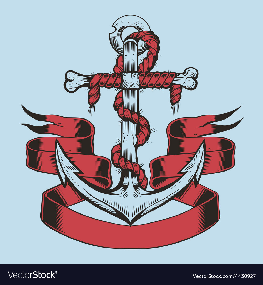Anchor with ribbon and rope vector   Price: 1 Credit (USD $1)