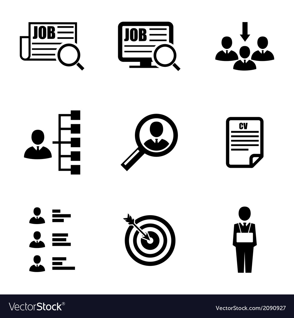 Black job search icons set vector | Price: 1 Credit (USD $1)
