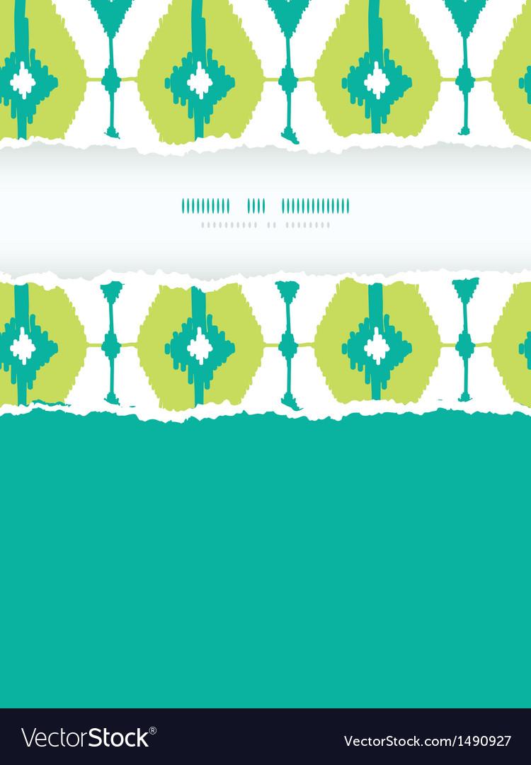Emerald green ikat diamonds frame torn seamless vector | Price: 1 Credit (USD $1)