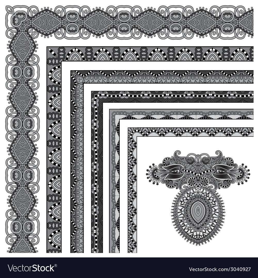 Grey set of seamless ornamental floral stripes vector | Price: 1 Credit (USD $1)