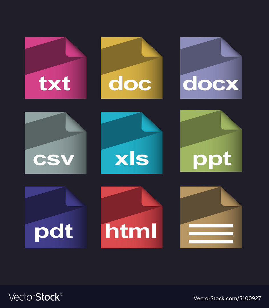 Icons documents formats set with long shadow vector | Price: 1 Credit (USD $1)