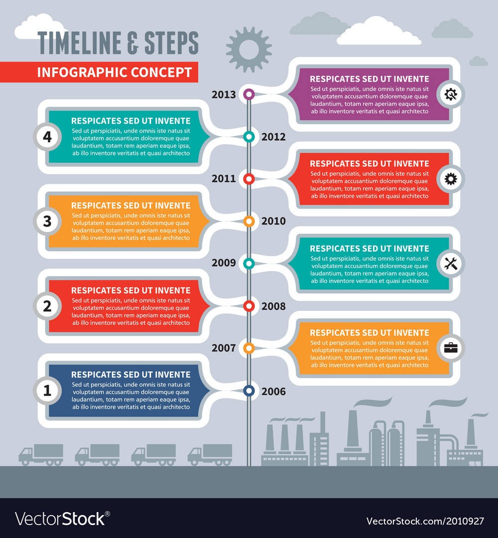 Infographic concept - timeline and steps vector | Price: 1 Credit (USD $1)