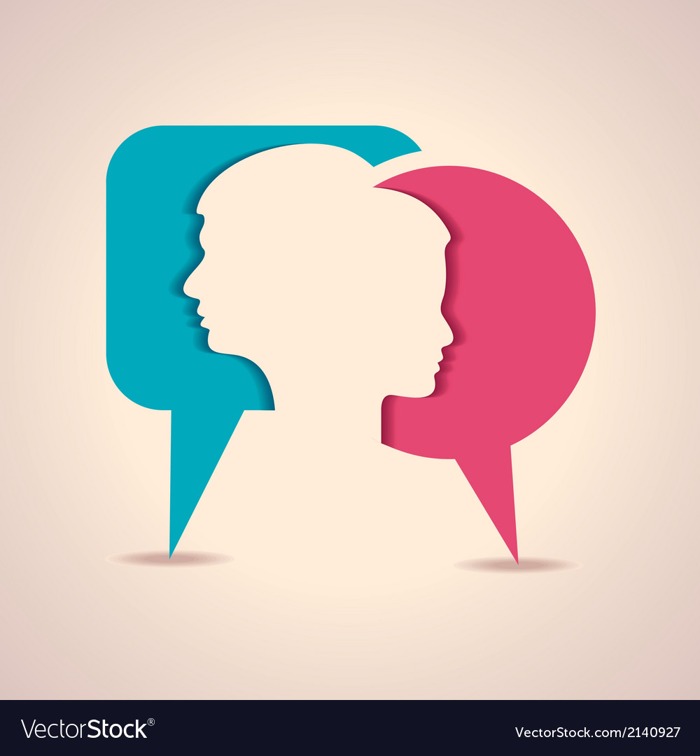 Male and female face with message bubble vector | Price: 1 Credit (USD $1)