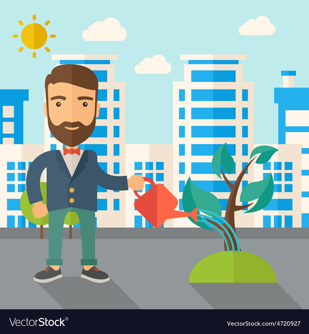 Man watering the plant vector | Price: 1 Credit (USD $1)