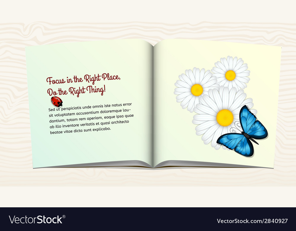 Open book with flowers and butterfly vector | Price: 1 Credit (USD $1)