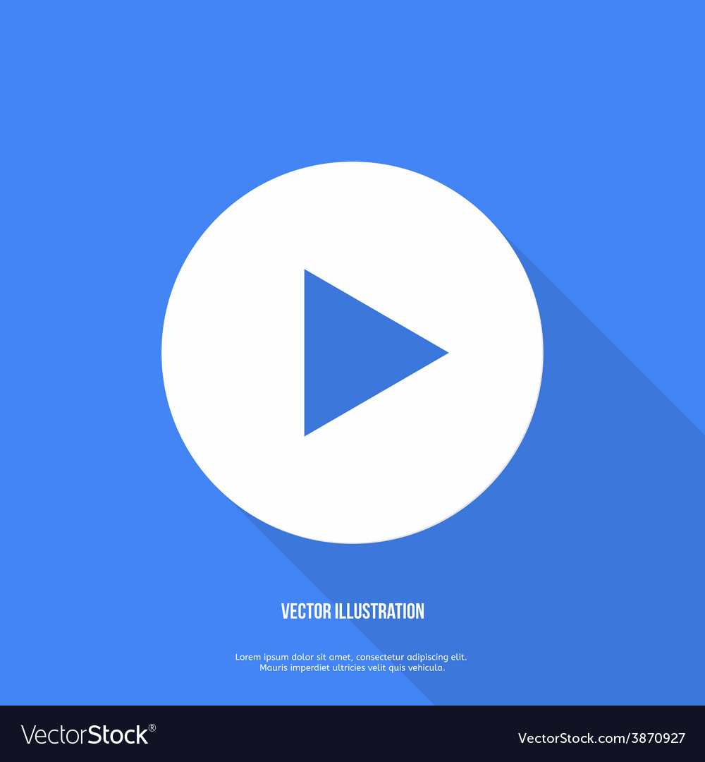 Play button web icon flat design vector | Price: 1 Credit (USD $1)