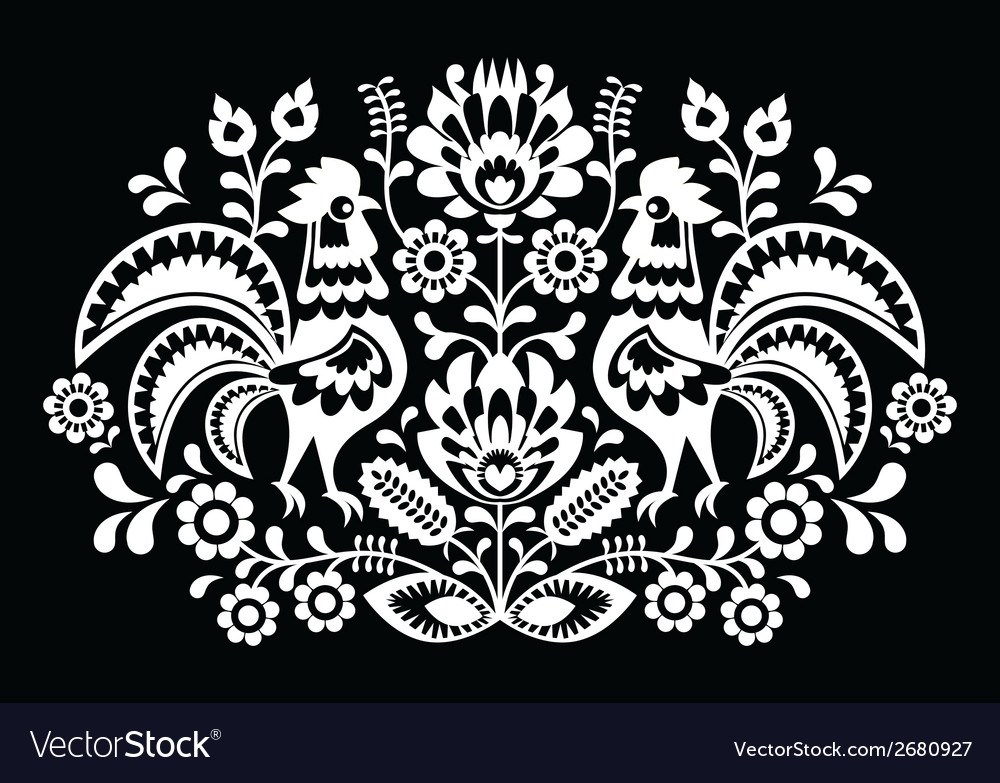 Polish folk art pattern roosters on black vector