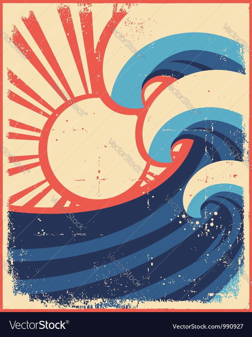 Sea waves postergrunge of sea landscape vector | Price: 1 Credit (USD $1)