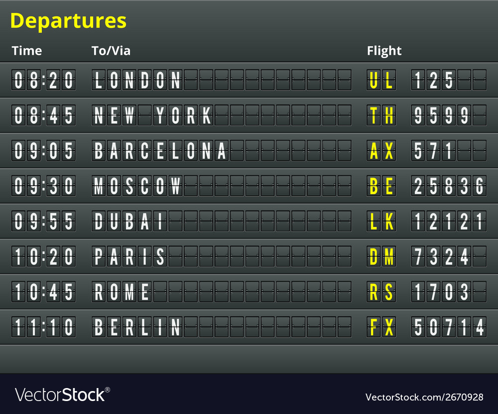 Airport departures table vector | Price: 1 Credit (USD $1)