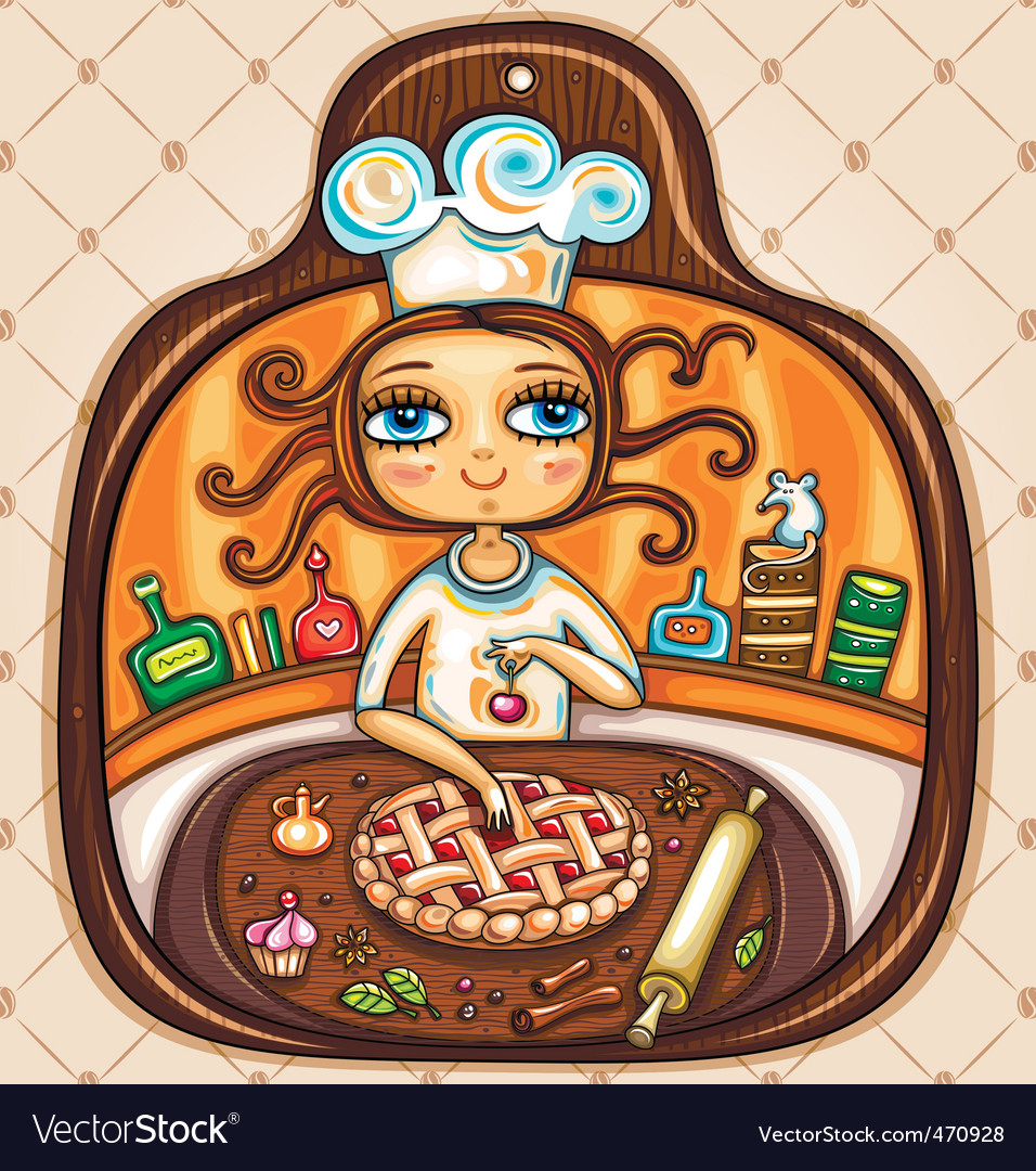 Chef girl vector | Price: 5 Credit (USD $5)