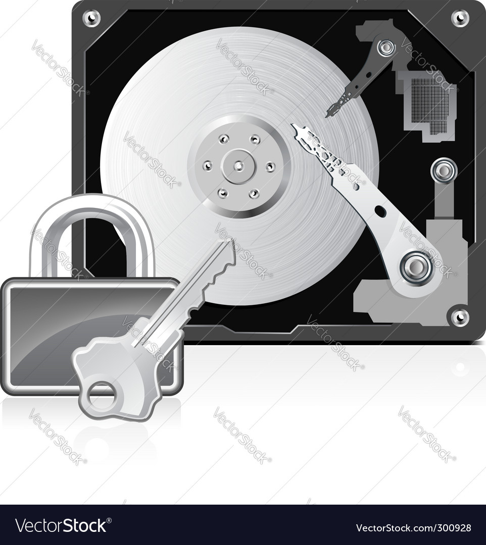 Computer hard drive and lock vector | Price: 1 Credit (USD $1)