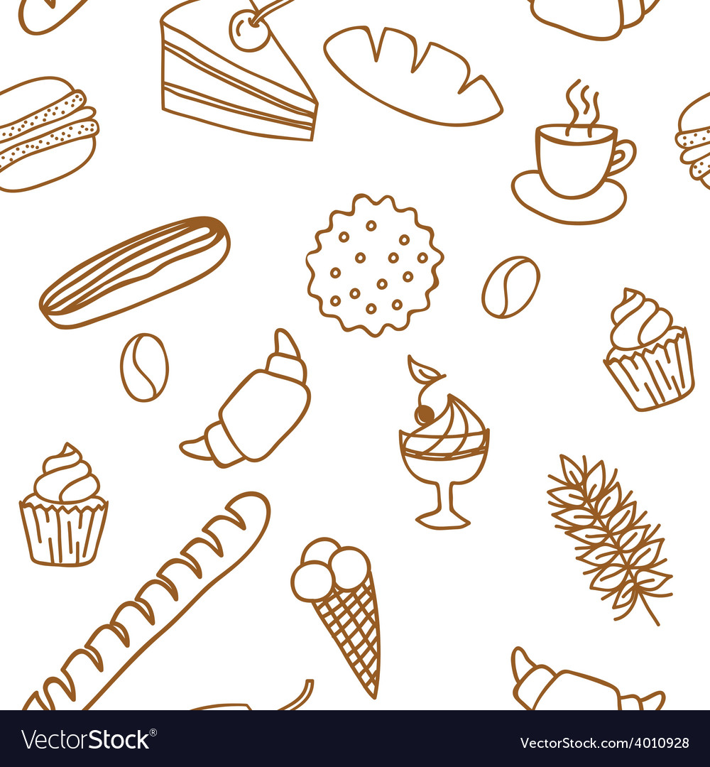 Edible seamless pattern with bread rolls cakes vector | Price: 1 Credit (USD $1)