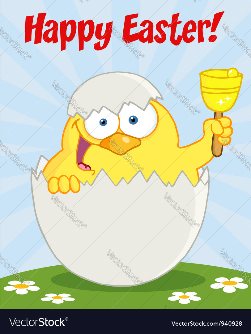 Happy easter chick in a shell on a hill vector | Price: 3 Credit (USD $3)
