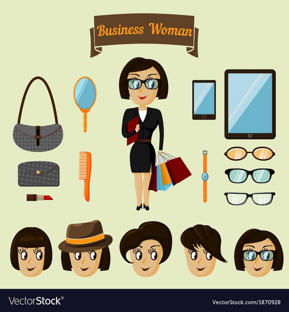 Hipster character pack for business woman vector | Price: 1 Credit (USD $1)