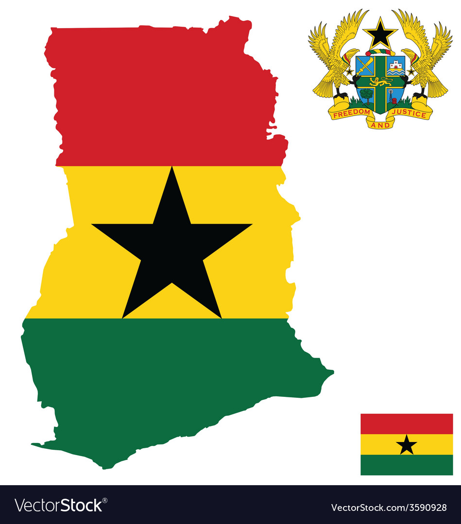 Republic of ghana flag vector | Price: 1 Credit (USD $1)