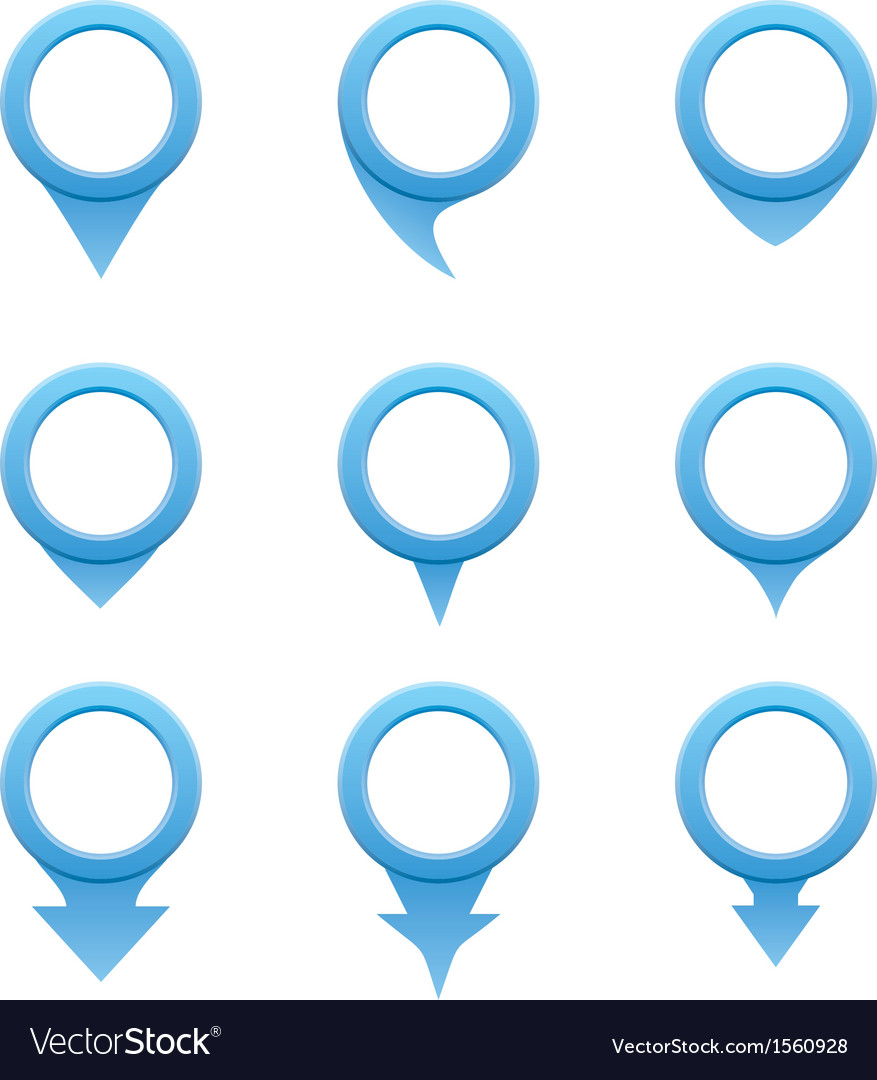 Set of blue circle pointers vector | Price: 1 Credit (USD $1)