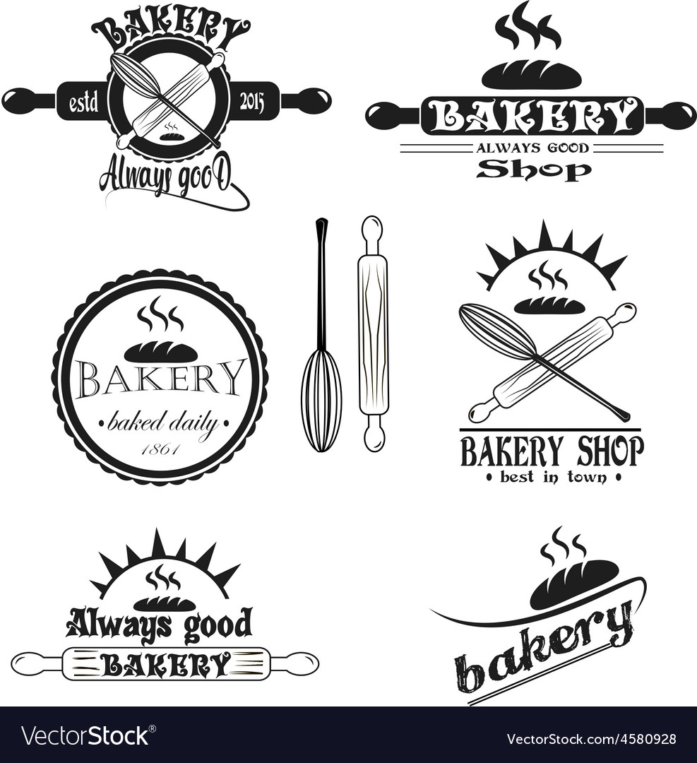 Set of vintage retro bakery logo badges and labels vector | Price: 1 Credit (USD $1)
