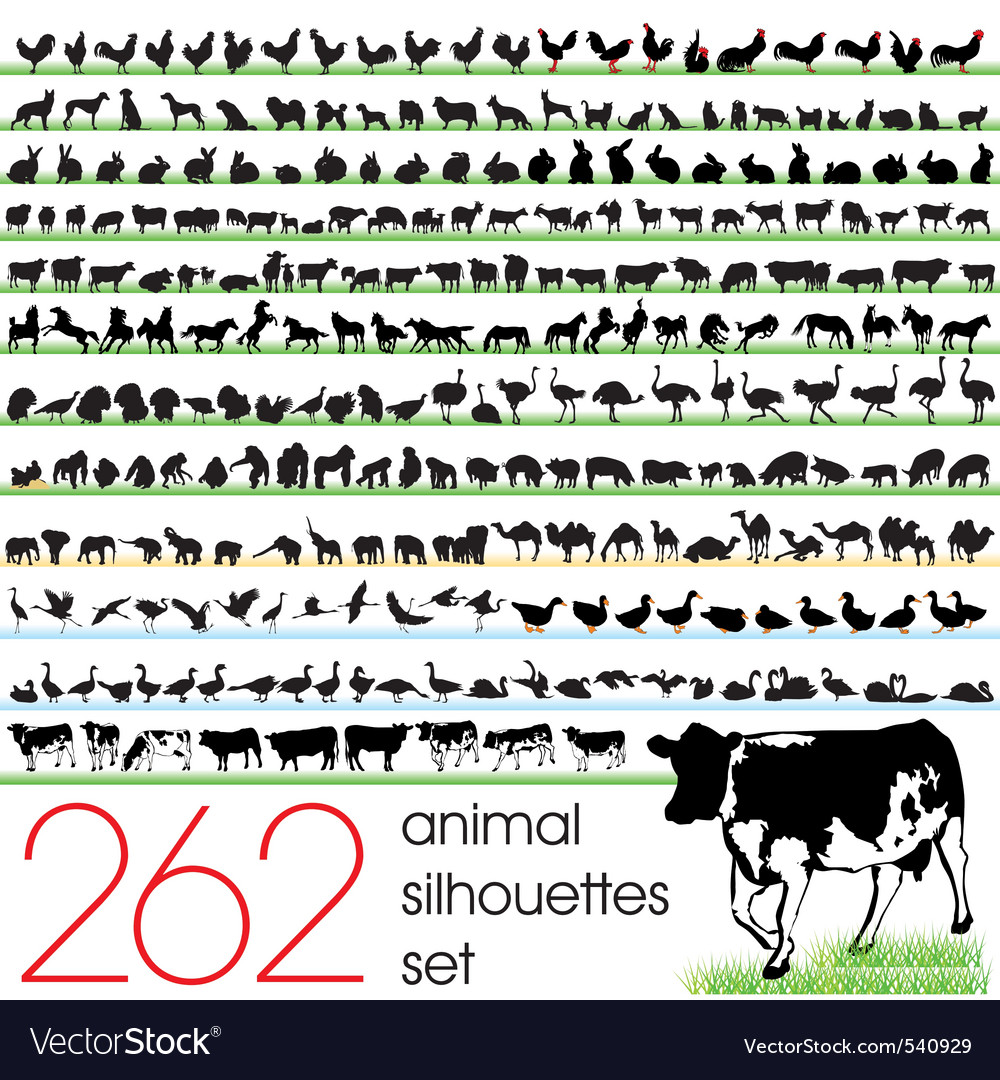 262 animals silhouettes set vector | Price: 1 Credit (USD $1)