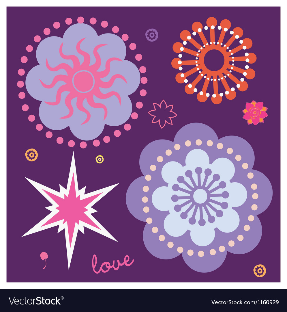 Beginning of spring magic flowers vector | Price: 1 Credit (USD $1)
