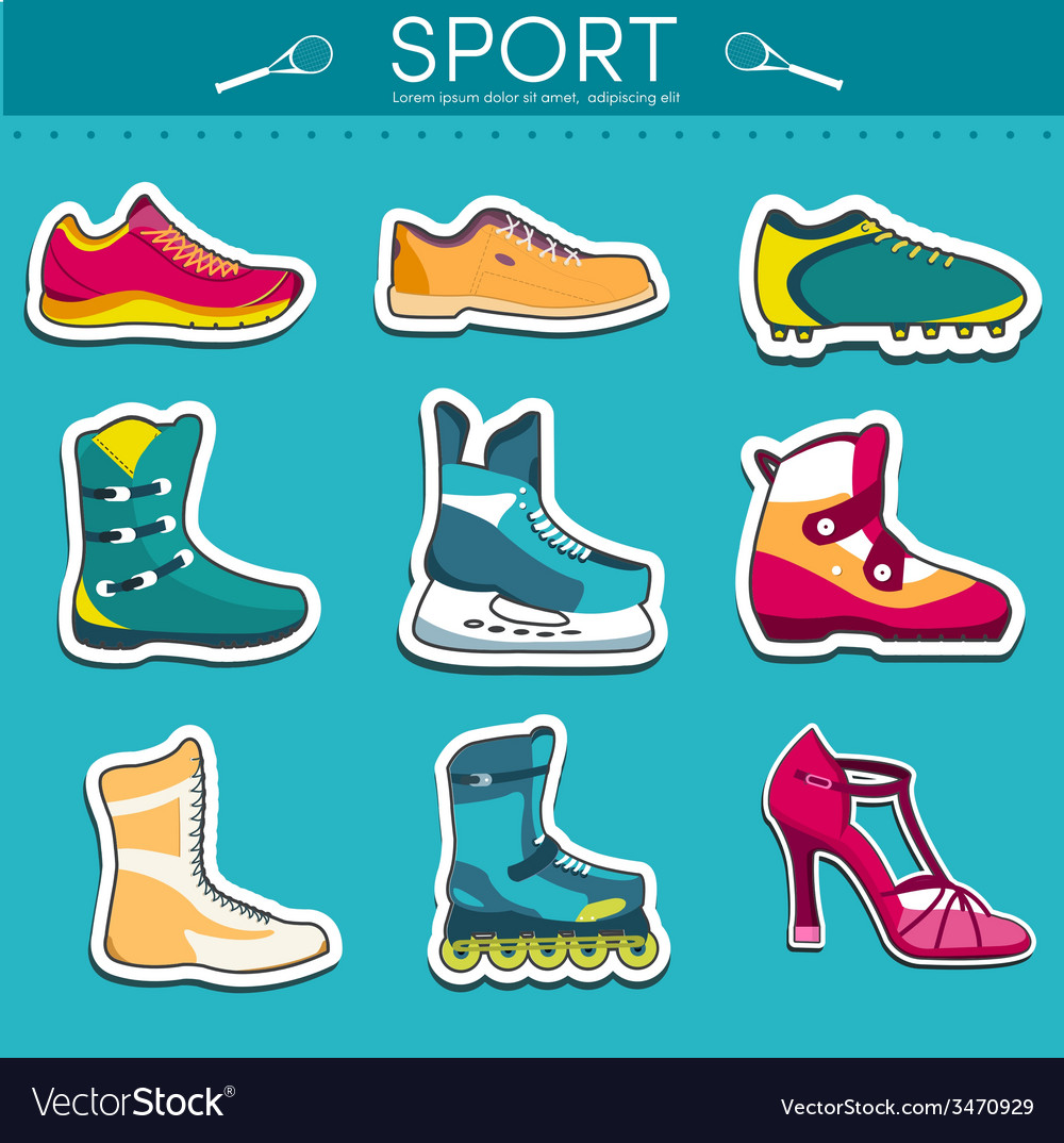 Big collection set of sport shoe equpment vector | Price: 1 Credit (USD $1)