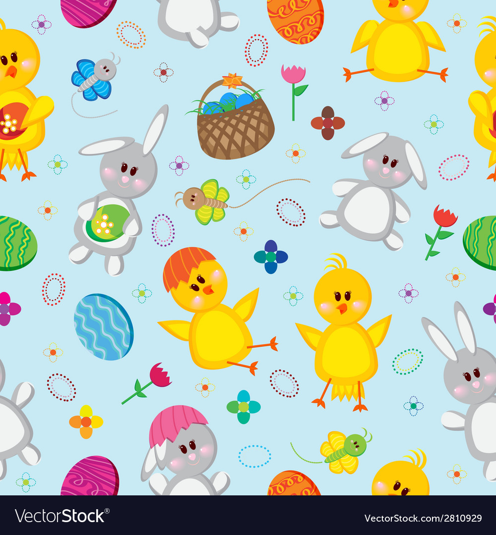 Colored easter eggs bunnies baskets flowers vector | Price: 1 Credit (USD $1)
