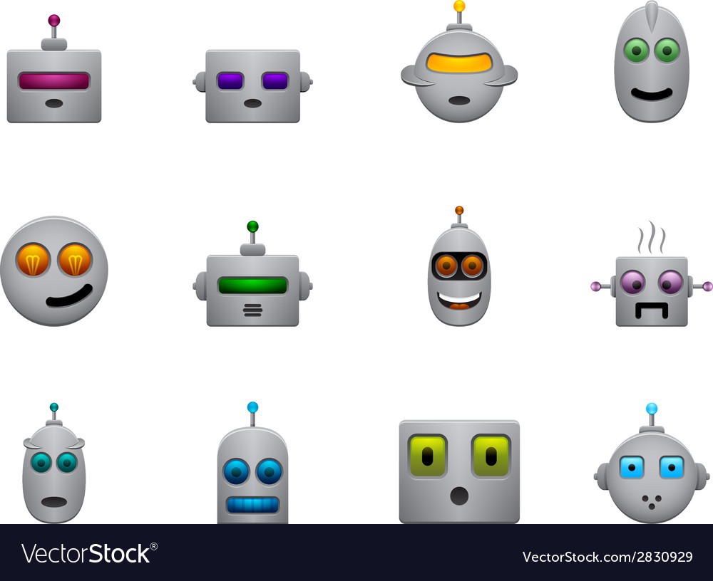 Funny retro robots smilies set with colour faces vector | Price: 1 Credit (USD $1)