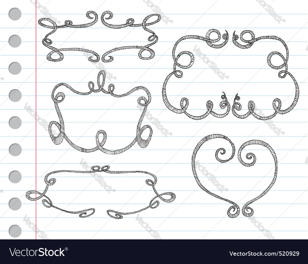 Hand drawn ornamental frames vector | Price: 1 Credit (USD $1)