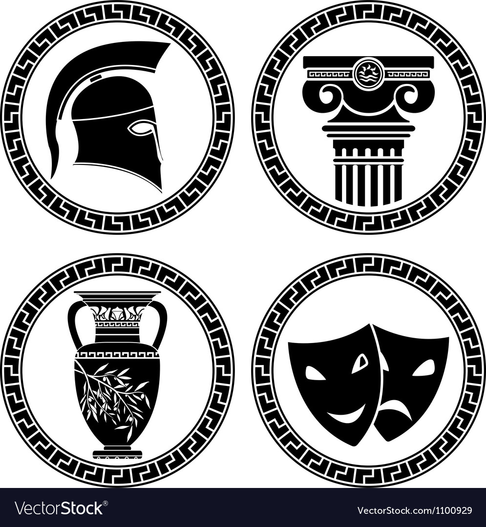 Hellenic buttons stencil second variant vector | Price: 1 Credit (USD $1)