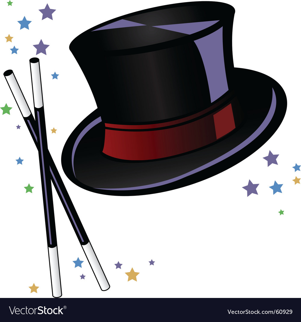 Magicians top hat and wand vector | Price: 1 Credit (USD $1)