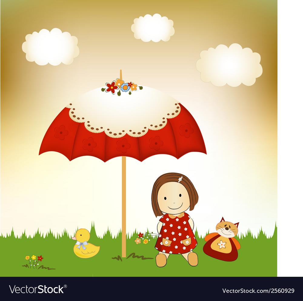 New baby invitation with umbrella vector   Price: 1 Credit (USD $1)
