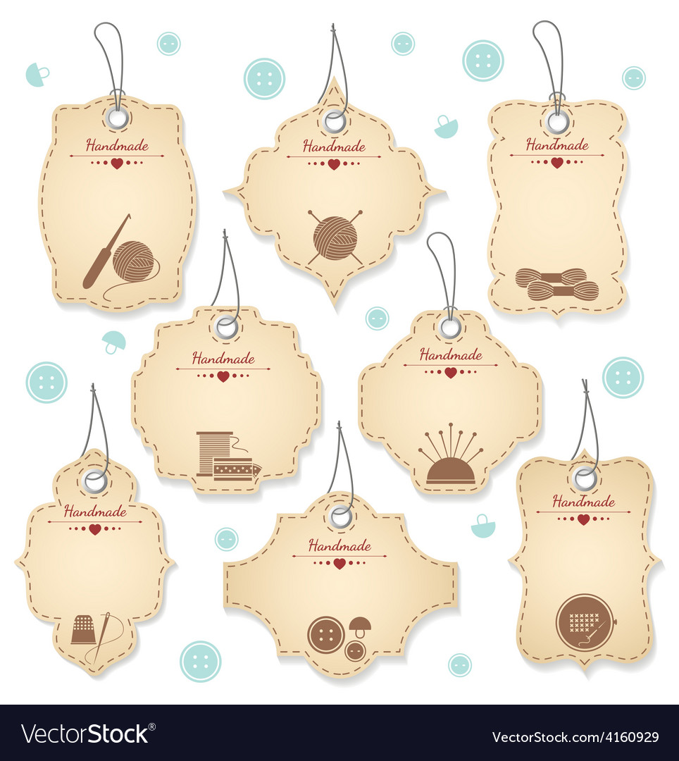 Nice handmade tag designs for needleowrks vector