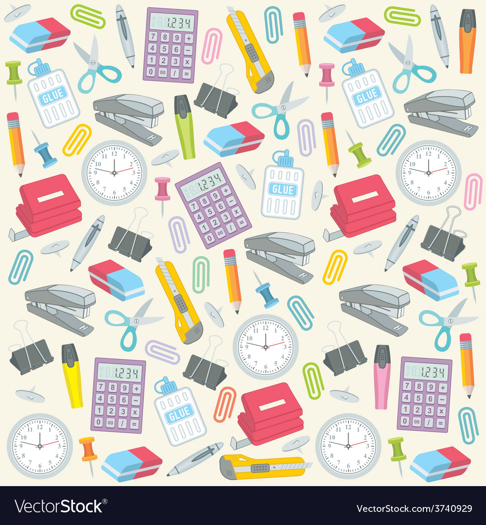Office supplies seamless background vector | Price: 1 Credit (USD $1)