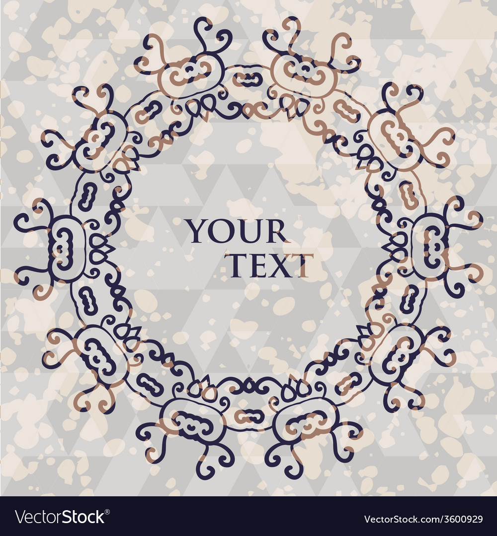 Ornamental round frame for text tribal style spots vector | Price: 1 Credit (USD $1)