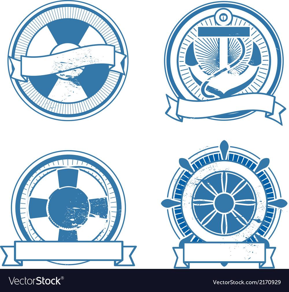 Retro sea stamps set vector | Price: 1 Credit (USD $1)