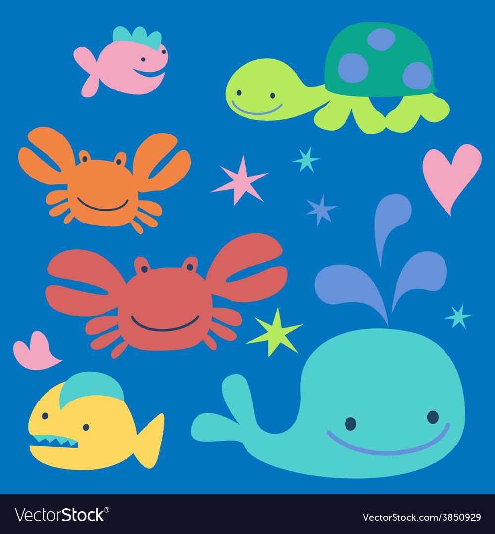 Sea cartoon characters vector | Price: 1 Credit (USD $1)