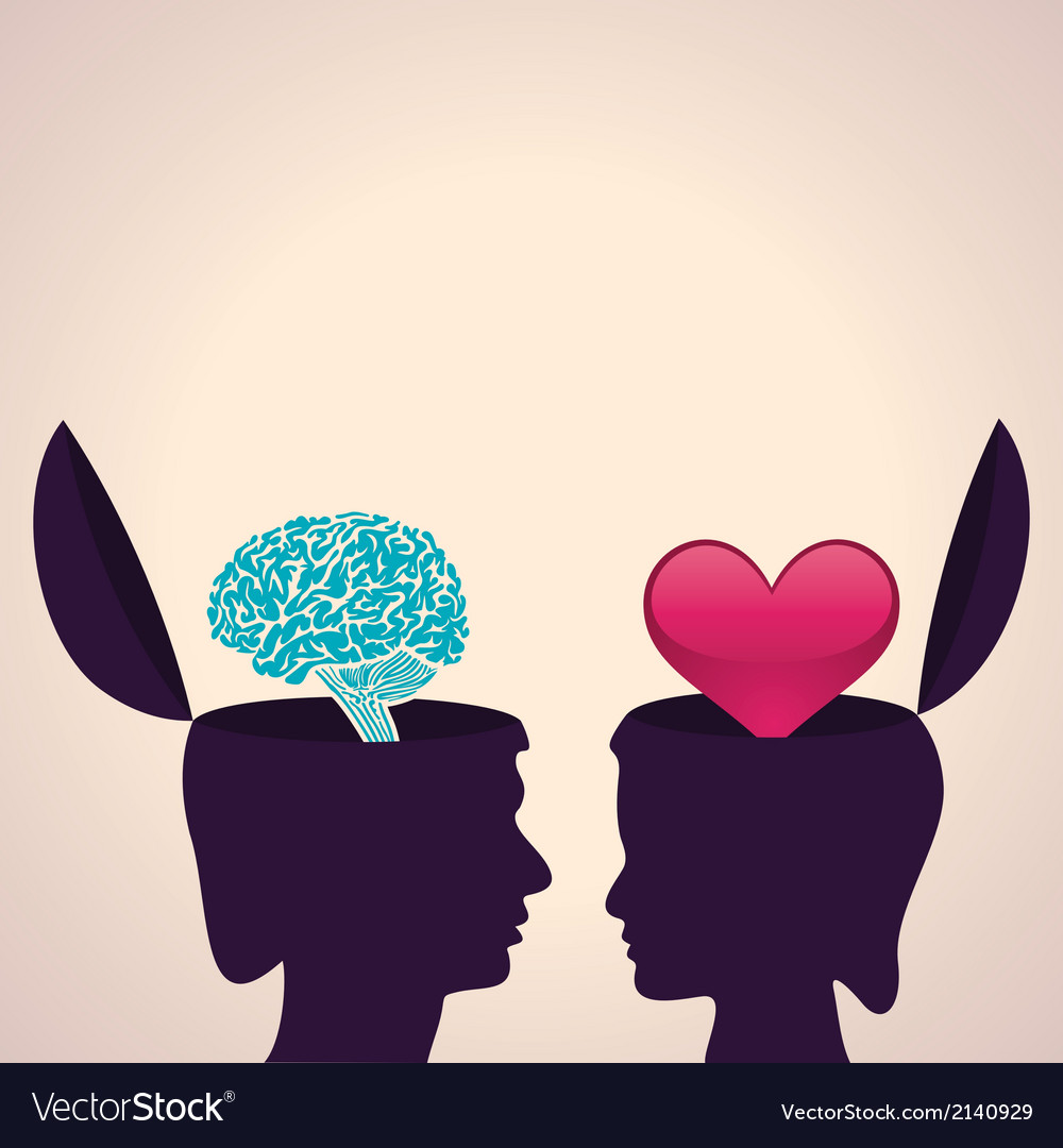 Thinking concept-human head with brain and heart vector | Price: 1 Credit (USD $1)