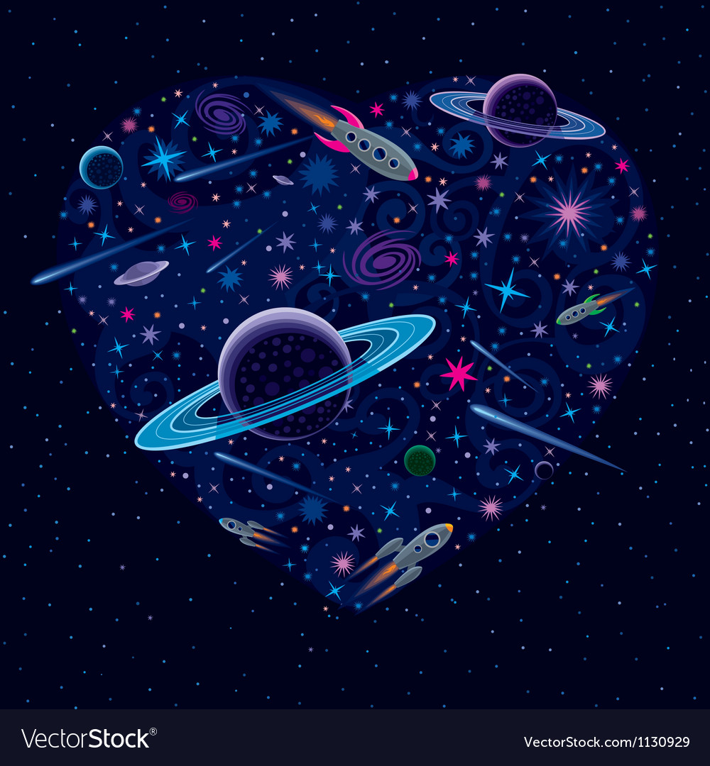 Valentine cosmic heart vector | Price: 1 Credit (USD $1)