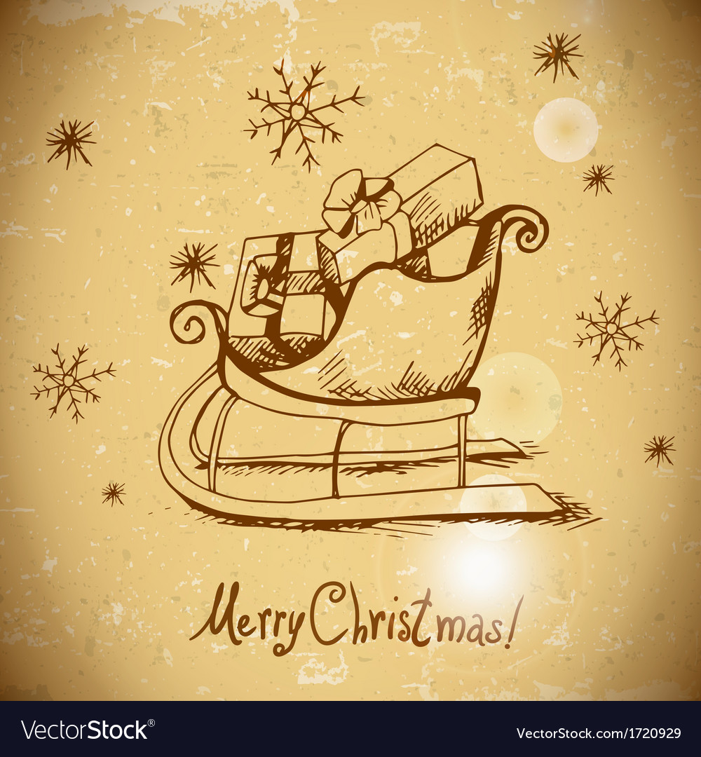 Vintage greeting card with christmas sleigh vector | Price: 1 Credit (USD $1)