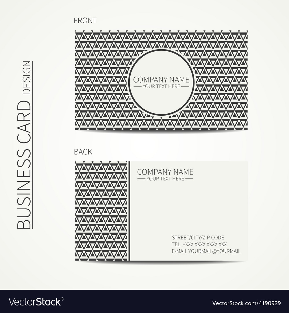 Vintage hipster simple monochrome business card vector | Price: 1 Credit (USD $1)