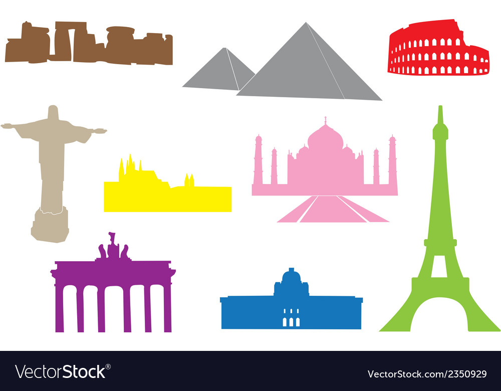 World monuments silhouettes vector | Price: 1 Credit (USD $1)